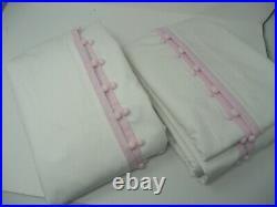 Pottery Barn Kids Cotton Pom pom Blackout Curtains drapes S/2 44x96 Light Pink