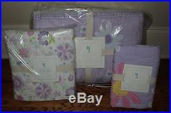 Pottery Barn Kids Daisy Garden twin quilt std sham & Garden Party sheet lavender
