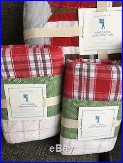 Pottery Barn Kids Dear Santa F/Q Quilt, Standard & Euro Shams New Full Queen