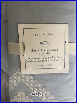 Pottery Barn Kids Diamond Embroidered Blue Toddler Crib Bedding Quilt Skirt NWT