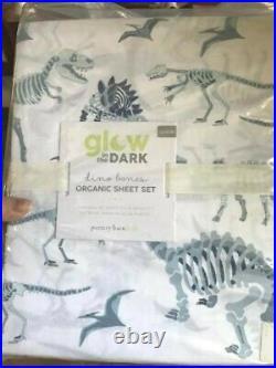 Pottery Barn Kids Dino Bones Sheet Set White Blue Queen Glow In Dark Dinosaur