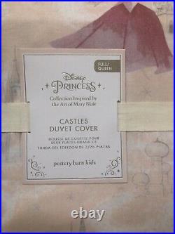 Pottery Barn Kids Disney Princess Castles Full/Queen Duvet Pink & 2 SHAMS NWT