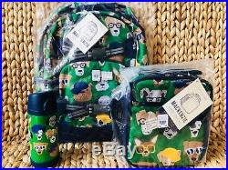 Pottery Barn Kids Dog Park Large Backpack Lunch Box Water bottle Green No Mono
