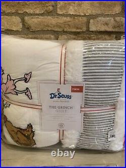 Pottery Barn Kids Dr. Seuss The Grinch Twin Quilt Sham Sheet Set Max Christmas