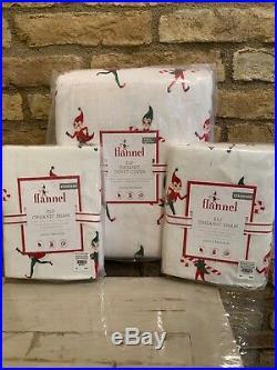 Pottery Barn Kids Elf On The Shelf Flannel Full Queen Duvet Shams Christmas New