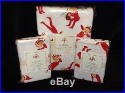 Pottery Barn Kids Elf On The Shelf Full/Qn Duvet & 2 std Shm Flannel Christmas