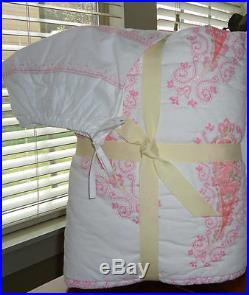 Pottery Barn Kids Elyse Nursery Baby Bedding 3 Pc Set Quilt & Bolster sham NWT