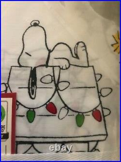 Pottery Barn Kids FULL Peanuts Snoopy Holiday Cotton Sheet Set Organic Christmas