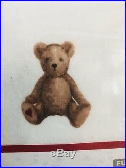 Pottery Barn Kids FULL QUEEN Duvet Teddy Bear 2 Shams Christmas Organic Flannel