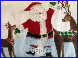 Pottery Barn Kids FULL Size Organic Flannel Jolly Santa Sheet Set Christmas HTF