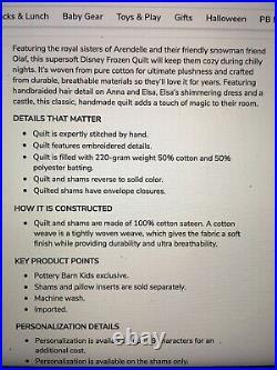 Pottery Barn Kids Frozen Full/Queen quilt Queen Sheet set bonus pillowcases
