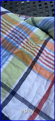 Pottery Barn Kids Full Queen Revesible Plaid Madras Quilt