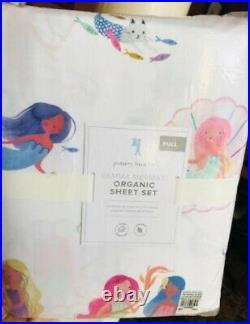 Pottery Barn Kids Gemma Mermaid Sheet Set Queen Organic Watercolor
