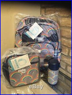 Pottery Barn Kids Gray Rainbow Large Backpack Lunchbox Water Bottle New Set