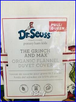 Pottery Barn Kids Grinch Full Queen Duvet Shams Pillow Christmas Max Flannel