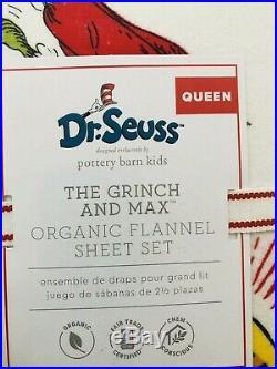 Pottery Barn Kids Grinch & Max Flannel Cotton Queen Sheet Set Christmas Dr Seuss