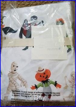 Pottery Barn Kids Halloween QUEEN sheet set witch mummy Frankenstein