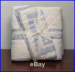Pottery Barn Kids Harper Baby 3 Pc Set Light Blue Quilt Sham Crib Skirt New