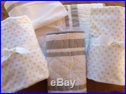 Pottery Barn Kids Harper Gray Nursery Crib Quilt, Sham, 2 Chamois Fitted Sheets +