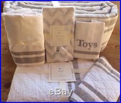 Pottery Barn Kids Harper Gray Nursery Crib Quilt, Sham, Sheet, Skirt, Bumper +