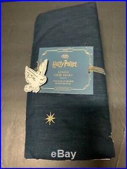 Pottery Barn Kids Harry Potter Linen Crib Skirt Enchanted Night Sky Patchwork NW