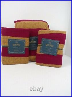 Pottery Barn Kids Harry Potter Striped Queen Duvet with 2 Std Shams Red Gold #6255