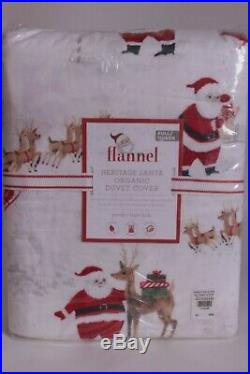 Pottery Barn Kids Heritage Santa Christmas flannel FQ duvet & 2 shams full queen