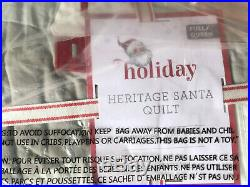 Pottery Barn Kids Heritage Santa Full/Queen F/Q Quilt NEW Christmas Holiday