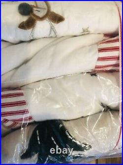 Pottery Barn Kids Heritage Santa Full Queen Quilt Shams Christmas Bedding Set