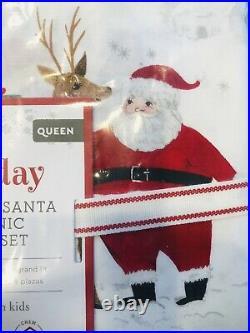 Pottery Barn Kids Heritage Santa Queen Sheet Set Christmas Organic COTTON Merry
