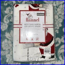 Pottery Barn Kids Heritage Santa TWIN Flannel Duvet Cover & Sham Set ORGANIC NEW