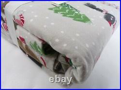 Pottery Barn Kids Holiday Dog Flannel Duvet Cover Full Queen Gray Multi #7