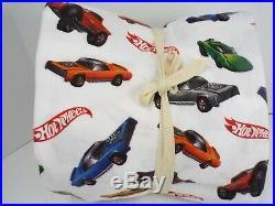 Pottery Barn Kids Hot Wheels Cars Flannel Sheet Set Full White #5002