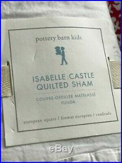 Pottery Barn Kids Isabelle Castle Twin Quilt/1 Euro Sham Nips White