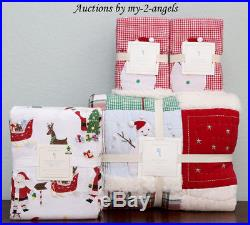 Pottery Barn Kids JOLLY SANTA F/Q Quilt +Shams +Flannel Full Sheet Set Christmas