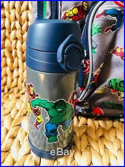 Pottery Barn Kids Large Backpack Water Bottle Lunch Box Gray Marvel NWT No Mono