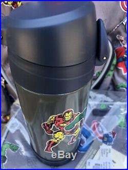 Pottery Barn Kids Large Backpack Water Bottle Lunch Box Gray Marvel No Mono Boys