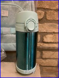 Pottery Barn Kids Large Ombre Aqua Glitter Backpack Lunch Box Water bottle Set