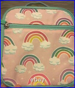 Pottery Barn Kids Large Pink Mod Sequin Rainbow Backpack & Rainbow Ref. Lunchbag