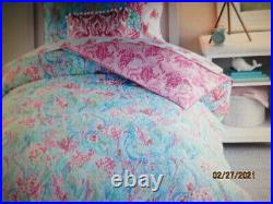 Pottery Barn Kids Lilly Pulitzer MERMAID's cove full/queen REVSIBLE COMFORTER NU