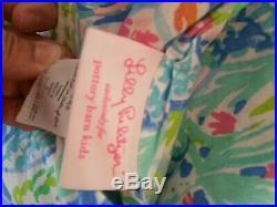 Pottery Barn Kids Lilly Pulitzer Mermaids Cove QUEEN Size Organic Sheet Set EUC