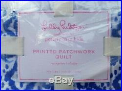 Pottery Barn Kids Lilly Pulitzer Print Floral Patchwork Quilt Toddler Blue #3089