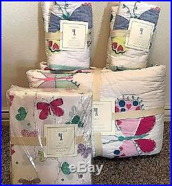 Pottery Barn Kids Lucy Butterfly FULL Quilt standard shams sheet set