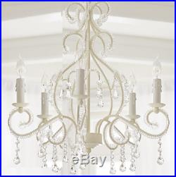 Pottery Barn Kids Lydia Clear Beaded Chandelier Hardwire Simply White New Re-Box