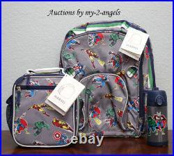 Pottery Barn Kids MARVEL GRAY Large Backpack Lunch Bag Water Bottle avengers