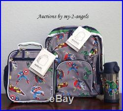 Pottery Barn Kids MARVEL GRAY Small Backpack Lunch Bag Water Bottle avengers