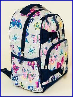 Pottery Barn Kids Mackenzie Backpack Gray Rainbow Butterfly Large Girls Bookbag