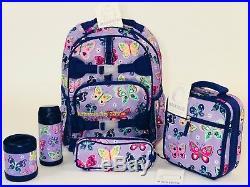 Pottery Barn Kids Mackenzie Backpack Purple Butterfly Large Girl Lunch Bookbag 5