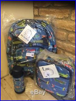 Pottery Barn Kids Mackenzie Blue Airplane Large Backpack Water Bottle Lunch Box