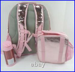 Pottery Barn Kids Mackenzie Pink Shine Backpack Lunch Box Thermos 3 Pc Set 9663